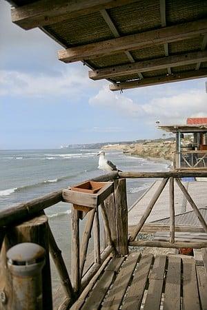 The Baja coastline from a restaurant patio in Puerto Nuevo.