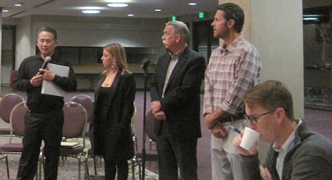 Chris Varond, Alicia Darrow, Ted Griswold, Moffitt Timlake, and David Hardy (seated, foreground)