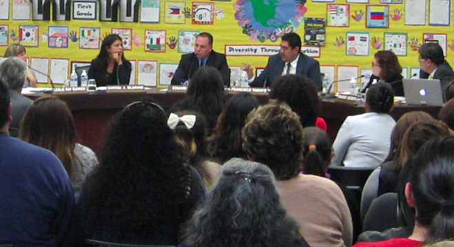 Parents and trustees at the February 26 meeting