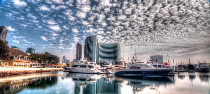 San Diego Harbor on a cloudy day