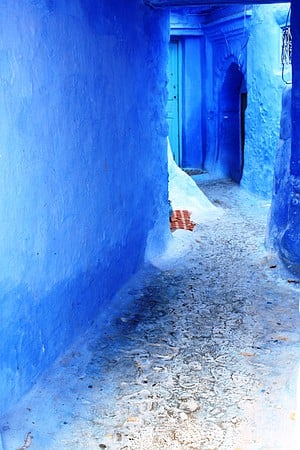 Just a small portion of the Blue City of Chefchaouen, Morocco.