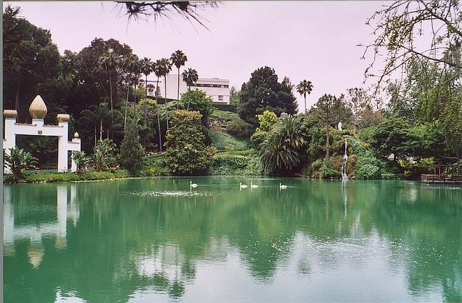 The lake at Lake Shrine.