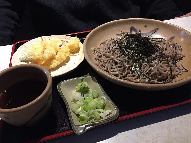 Ten Zaru Soba, chilled buckwheat noodles with shrimp tempura