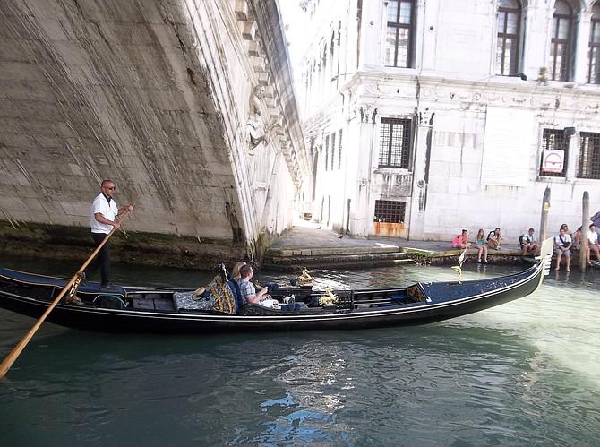 Gondola under Rialto Bridge, Venice