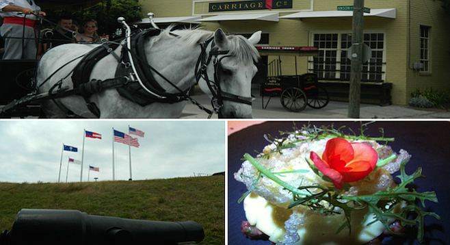 Clockwise from top: apropos carriage ride in Charleston's Colonial downtown; at the top of Ft. Sumter; a dish of sweetbreads, Appalachian red corn, black truffle at McCrady's.