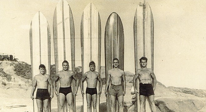 Towney Cromwell, Buddy Hull, Woody Ekstrom, Bill Isenhouer, and Andy Forshaw. Photo taken at Windansea in the late 1940s.
