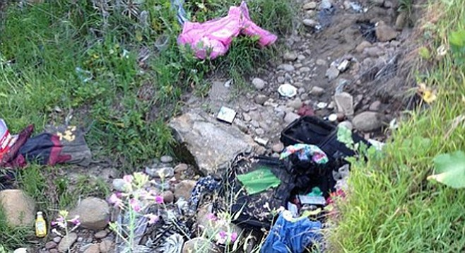 Photo of canyon trash posted on Nextdoor Talmadge