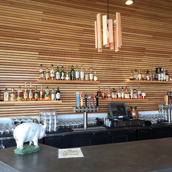 Top shelf boozes behind the bar