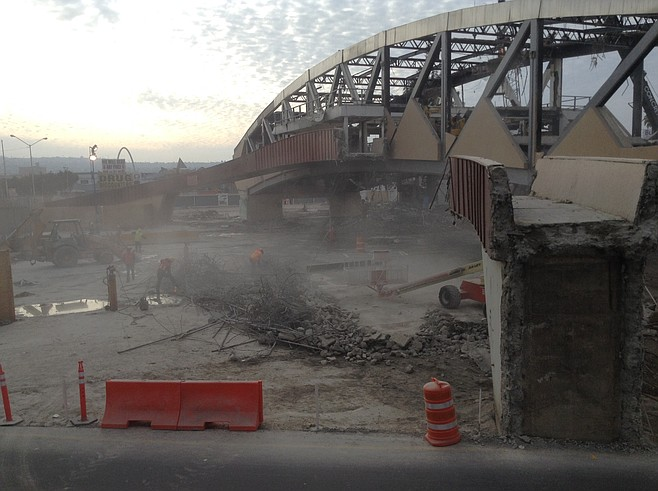 """The demolition of Puerta Mexico (""""the shell"""" building)"""