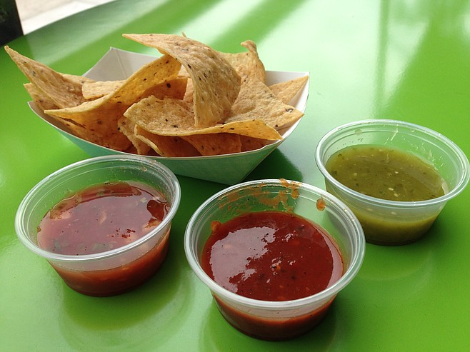 Help yourself to some chips and salsas.