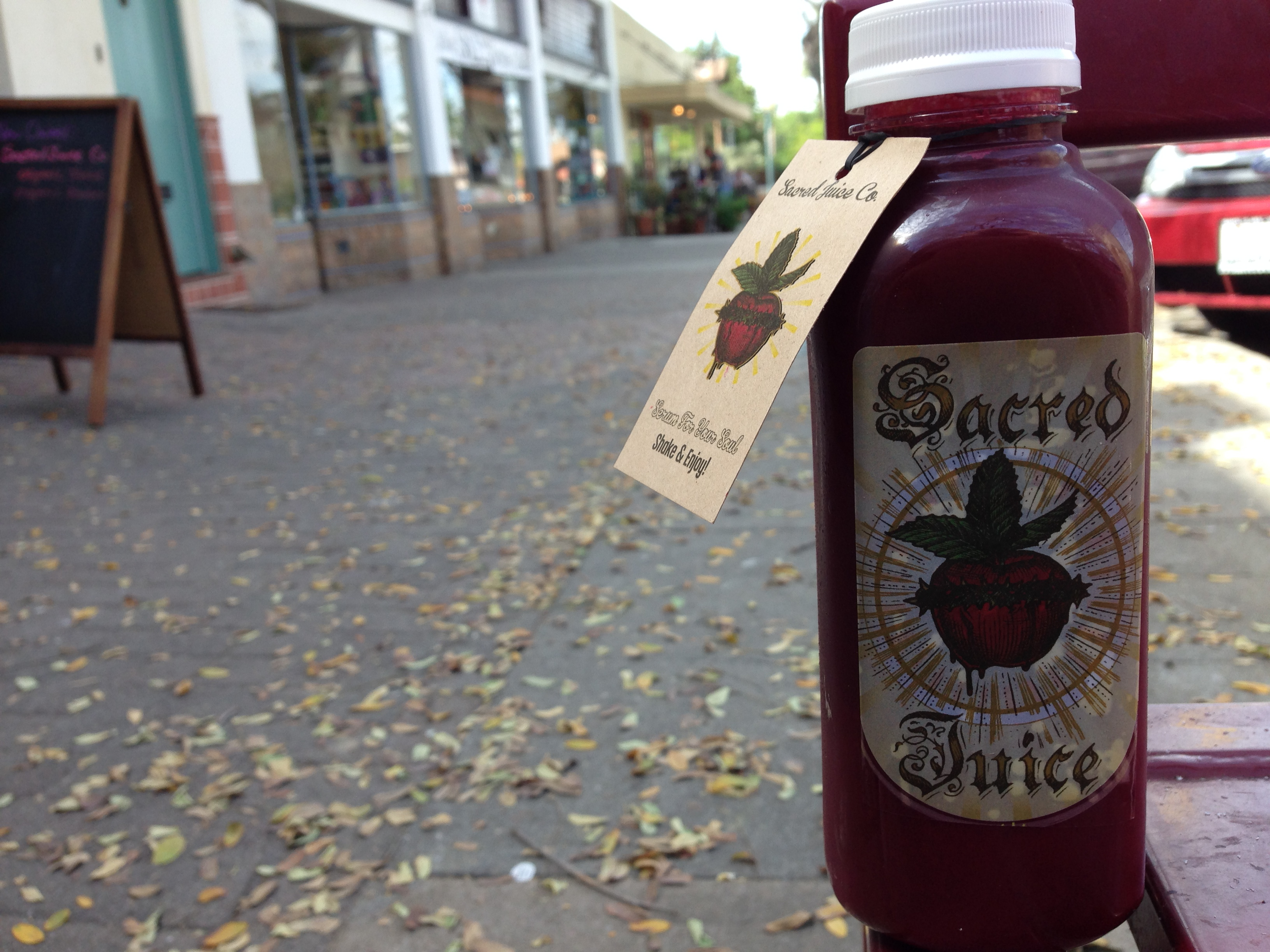 Cold press juice hits South Park. Queen Beet. Sacred Juice Co.