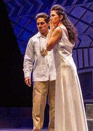 Lakin Valdez, Mónica Sánchez in Oedipus El Rey at San Diego REP