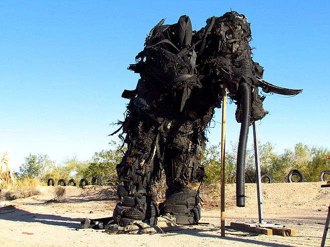 Burning Man pieces like the Definition of a Grievance have found a home at East Jesus's Art Garden.