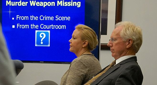 Julie Harper w defense atty Pfingst during her first trial.