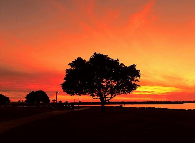Blazing sunset-De Anza Cove