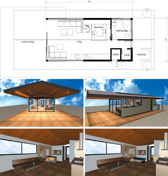 Floor plan and artistic renderings for a 512-square-foot tiny home by Mark Silva