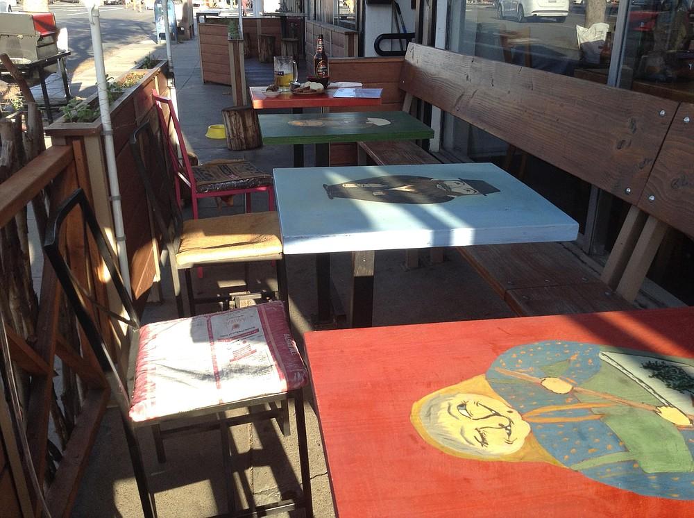 Each table has a babushka painted on it