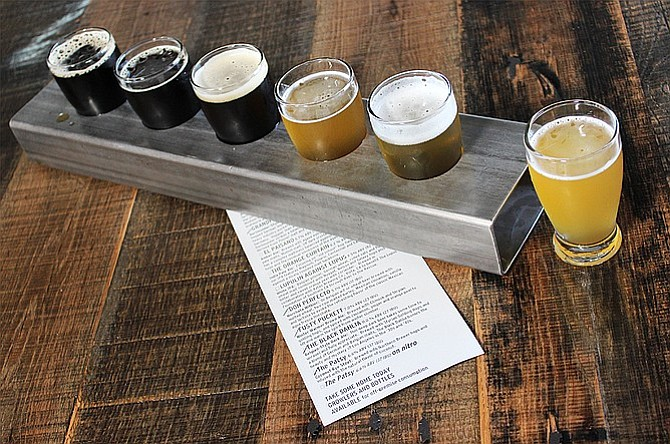 A taster flight at Barley Forge Brewing Co.