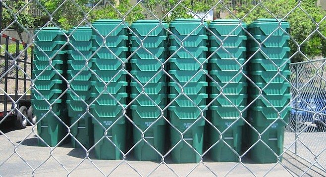Green waste containers in the San Carlos Library parking lot