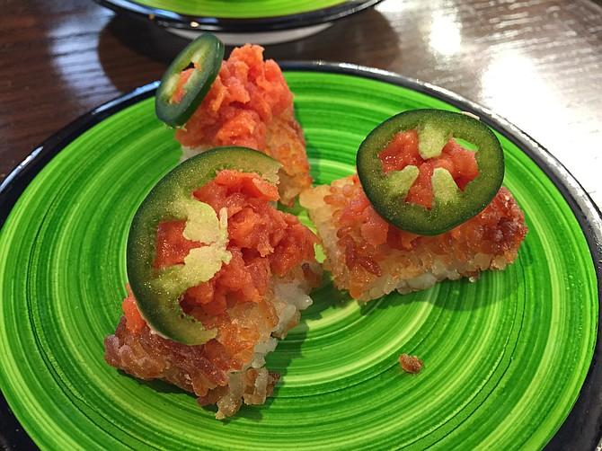 Spicy tuna on crispy rice, a delectable bite