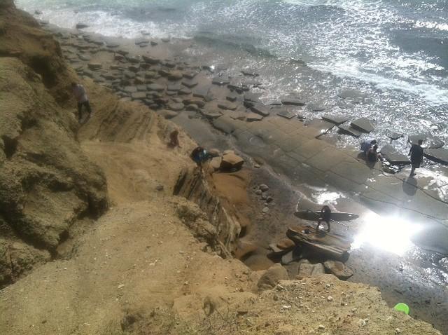 Beachgoers near runoff site