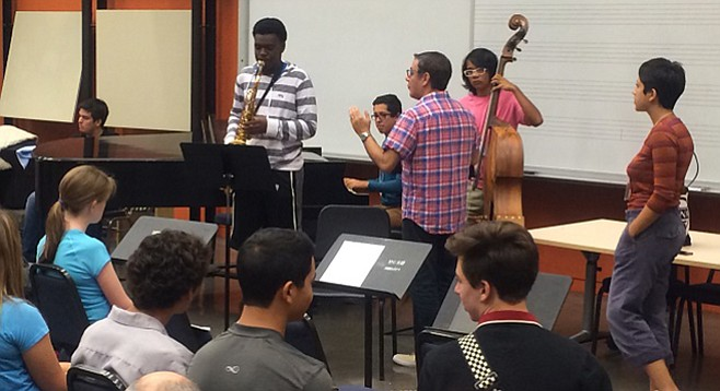 Seasoning the campers at UCSD's summer jazz camp.