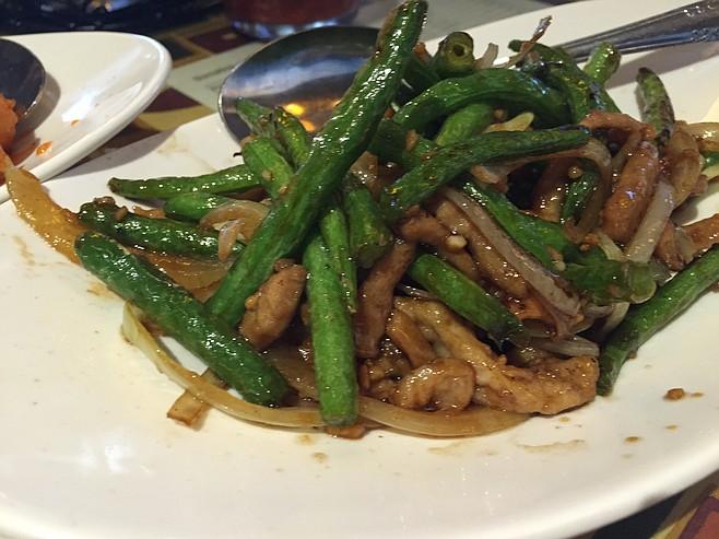 Shredded (more like sliced) pork green bean dish