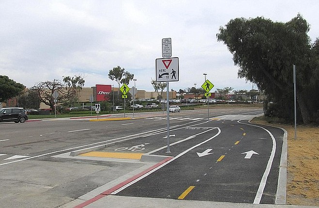 Juncture of Sweetwater Bikeway and the new section of Plaza Bonita Bikeway