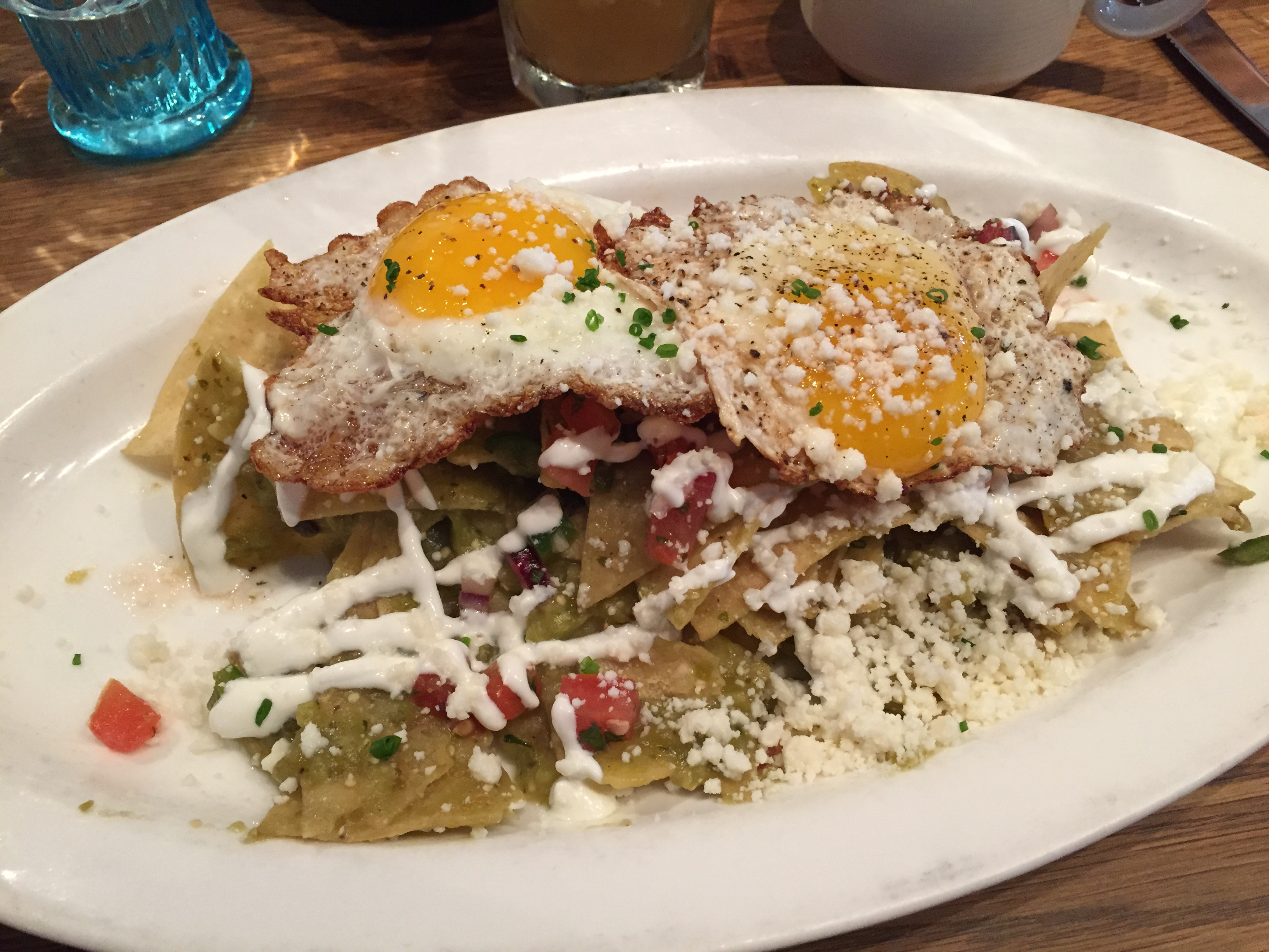 Chilaquiles, with spicy salsa verde