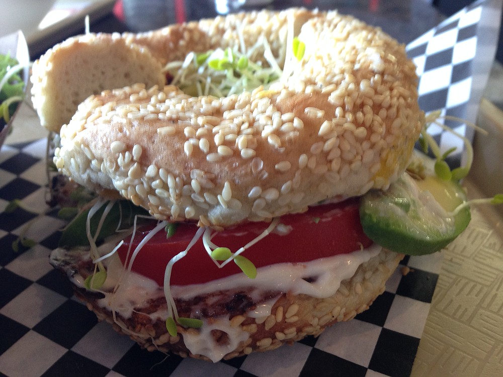 Avocado, sprouts, tomato, and mayo served on a lightly toasted St. Viateur sesame bagel