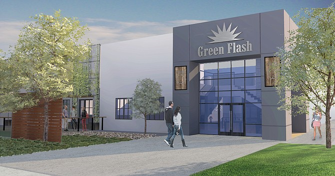 A rendering of the exterior of Green Flash Brewing Company's Cellar 3 facility in Poway