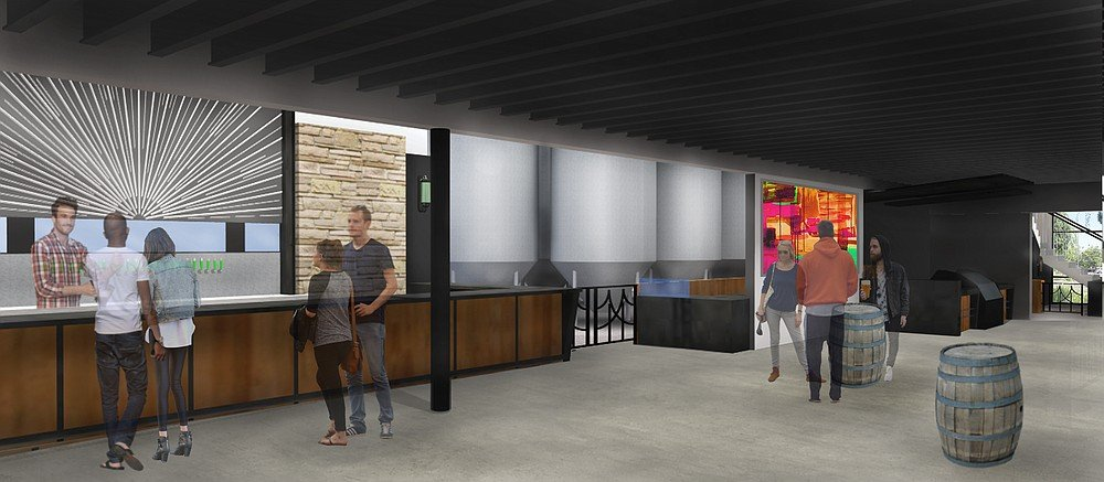 An artist's rendering of the tasting bar of Green Flash Brewing Company's upcoming Cellar 3 facility