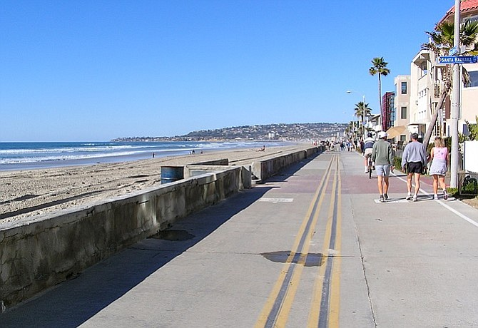 Off-peak riding on the Mission Beach stretch of the boardwalk.