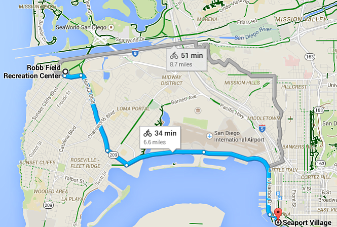 It's a 35-minute ride from O.B. to downtown using the Nimitz Blvd. bike lane, says Google.