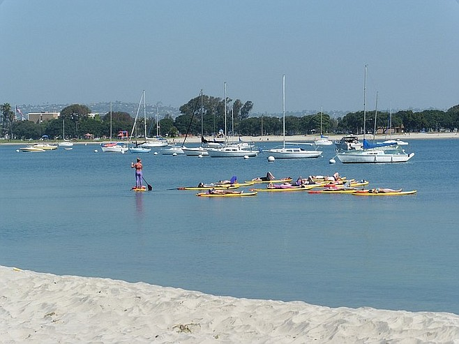Paddleboard yoga class in the bay.