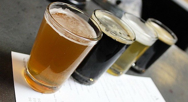 The opening line-up of brews at Rancho Bernardo's Abnormal Beer Co.