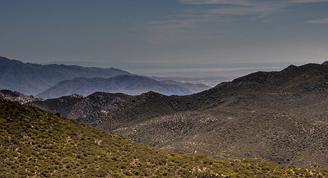 The Salton Sea is visible from the top of Combs Peak.