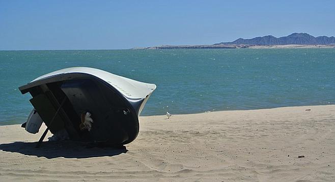 Fishing boat on a crowd-free San Felipe beach.