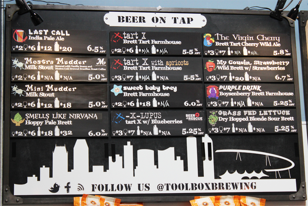 Toolbox Brewing Company's beer board sports a unique line-up of offerings