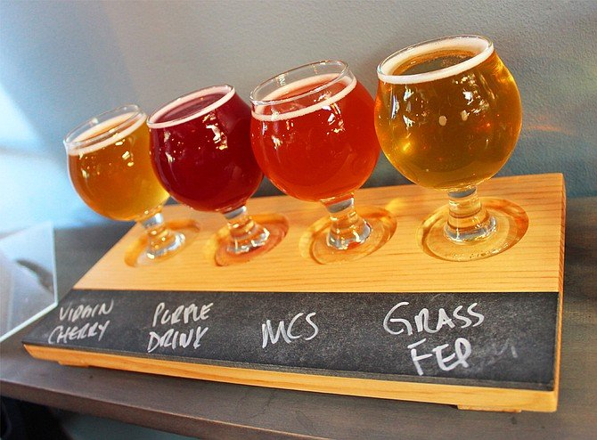 A flight of Brettanomyces-laced beers from Toolbox Brewing Company (photo by @sdbeernews)