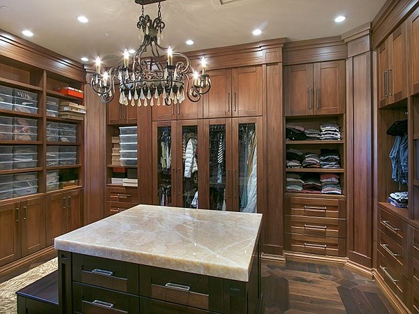 The closet in the 3000-square-foot master bedroom