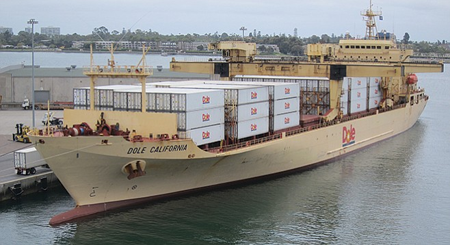"""""""Day-O!"""" Most of the country's bananas are offloaded in San Diego. - Image by Chris Woo"""
