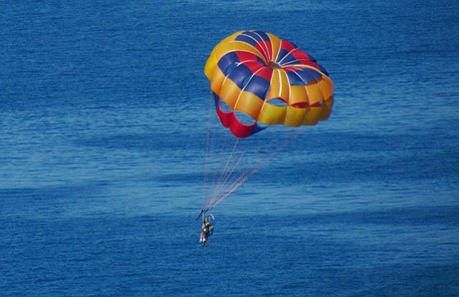 Parasailer above Avalon harbor.