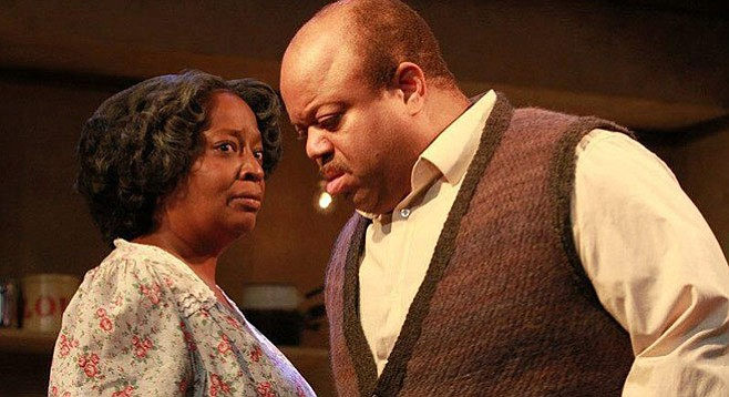 Mark Christopher Lawrence and Sylvia M'Lafi Thompson in Raisin in the Sun at Moxie Theatre