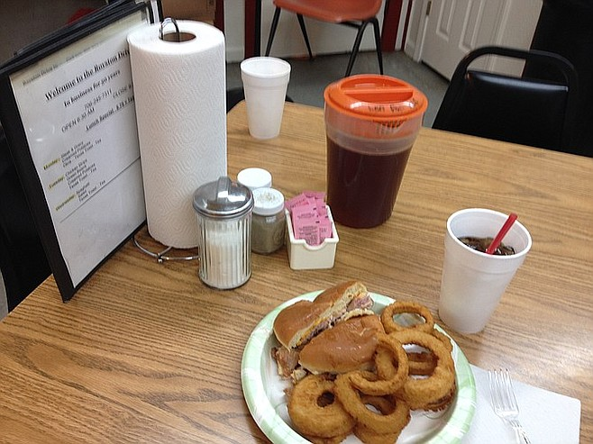 Royston's onion rings. And some sweet tea, too.