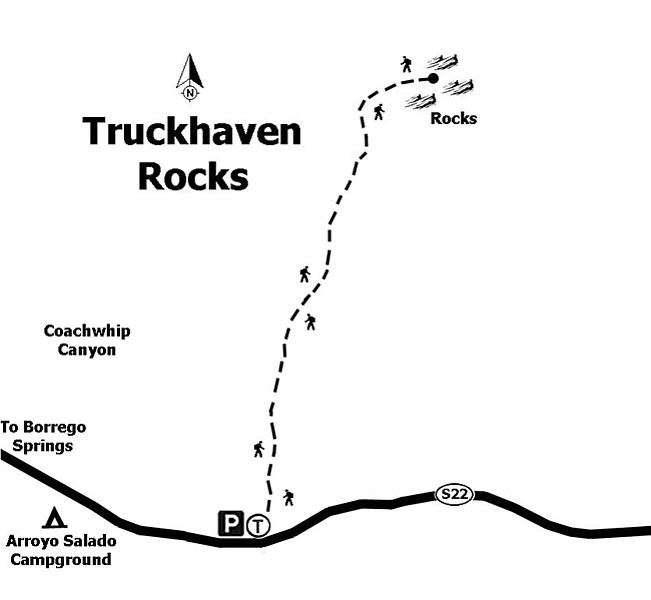 Map to the Truckhaven Rocks