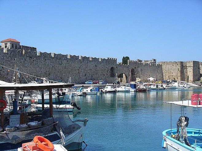 Rhodes city walls and harbor.