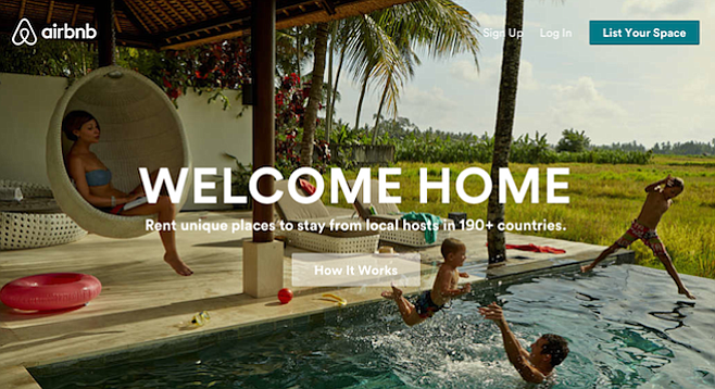 From Airbnb home page