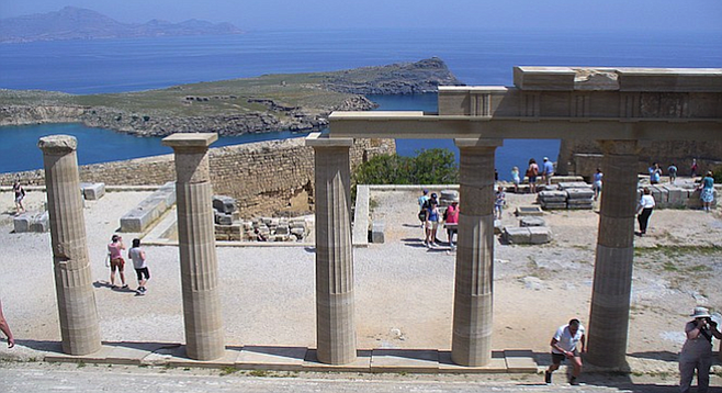 Still-standing columns at Rhodes' Acropolis of Lindos remind visitors of the island's storied past.