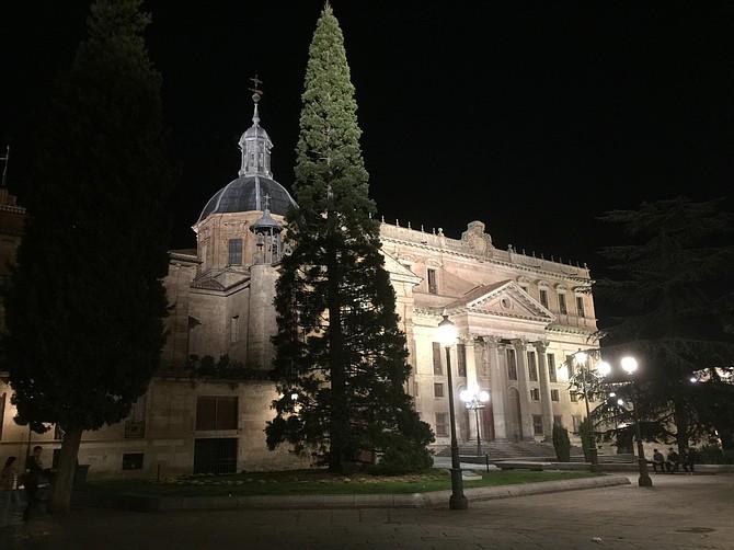 Night view of Colegio de Anaya o de San Bartolome in Salamanca, Spain.
